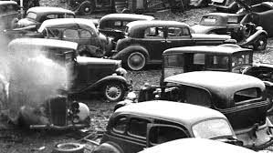 auto junkyard nyc philly junk yard 1930s cars scraped and crushed into bales the