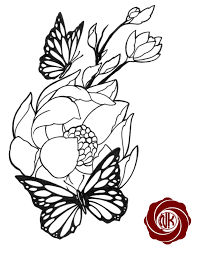 flowers for flower and butterfly tattoo sketches clip art library
