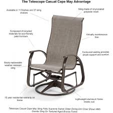 Telescope Casual Furniture Reviews by Telescope Casual Cape May Sling Patio Supreme Swivel Glider Dining