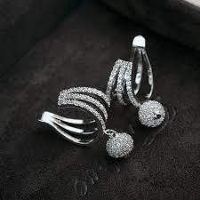 earrings brands new brands drop design white gold color plated clip