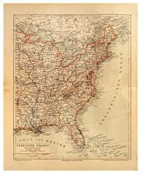 States Of United States Map by Old Map Of United States Of America And Atlantic Ocean U2014 Stock
