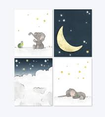 set of 3 elephant moon and stars pink u0026 grey elephant