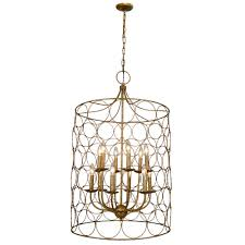 Candle Style Chandelier 23 Inch Uptown Steel Gold Circle Birdcage Candle Style Chandelier