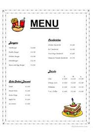 14 free esl ordering food worksheets