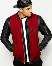 Wool Bomber Jacket Mens Black Kaviar Wool Bomber Jacket With Pu Sleeves In Red For Men Lyst