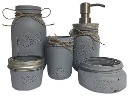 5 Piece Bathroom Set by Mason Jar Bathroom 5 Piece Set Rustic Bathroom Accessory Sets