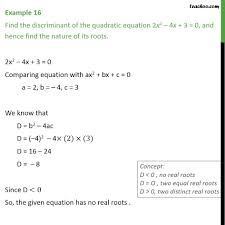 example 16 find discriminant of 2x2 4x 3 u003d 0 examples
