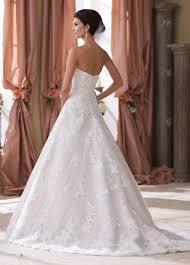 strapless taffeta ball gown with lace wedding dress 214206 wyomia
