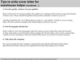 Warehouse Helper Resume Warehouse Helper Cover Letter