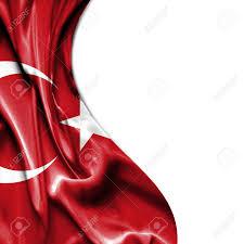Turkey National Flag Turkey Waving Silky Flag Isolated On White Background Lizenzfreie