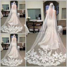 aliexpress com buy brilliant lace appliqued wedding veil