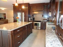 Wood Cabinet Kitchen Kitchen Brown Subway Tile Backsplash White Cabinet Kitchen
