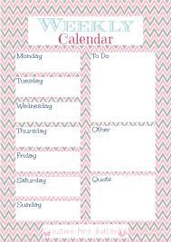 weekly calendar printable u2013 1 page creative pink butterfly