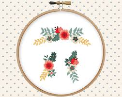 floral ornament cross stitch pattern pdf instant