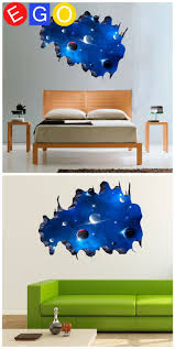 21 best 3d home decoration wall stickers bedroom living room study new removable 3d diy galactic space broken wall decorative wall sticker for kids room living room