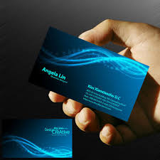 blue computer network information technology business card psd