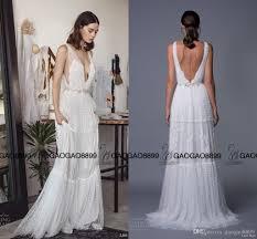 Cheap Boho Clothes Online 2017 Lihi Hod Lace Greek Bohemian Wedding Dresses With Beaded Belt