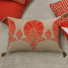 Ottoman Pillow Ottoman Floral Velvet Applique Lumbar Pillow Cover Coral