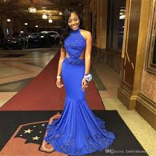 long royal blue prom dresses mermaid african black prom
