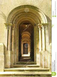 Interior Stone Arches Wooden Door Way Through Stone Arches Stock Image Image 24344853