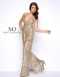 jumpsuits for prom gold sequin flared prom jumpsuit mac duggal 4496m