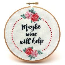 maybe wine will help cross stitch pattern peacock fig
