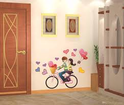 wall stickers romantic couple bike travel decoration hangings home