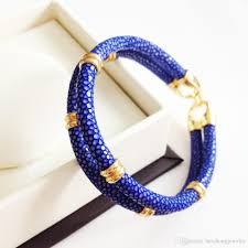 double strap bracelet images Beichong classic genuine blue stingray double strap bracelet jpg