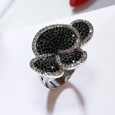 online buy wholesale jet stone jewelry from china jet stone great product big flower big ring pave aaa jet and clear cubic zirconia stones large party