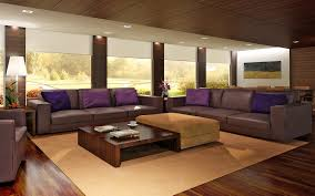 L Shaped Wooden Sofas Living Room Modern Home Living Room With Brown Wall Combined