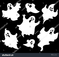 set halloween ghosts design isolated on stock vector 110283626
