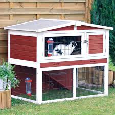 Advantek Stilt House Rabbit Hutch Trixie Natura Animal Hutch With Peaked Roof In Red U0026 White