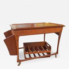 vintage mid century modern danish teak rolling bar cart