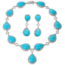 turquoise necklace set images Turquoise and diamond necklace and earring set for sale at 1stdibs jpg