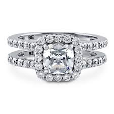 cubic zirconia halo engagement rings sterling silver cushion cubic zirconia cz halo engagement ring 2 3