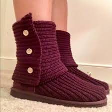 ugg s boots size 11 50 ugg shoes ugg burgundy cardy knit boots size 6 fits