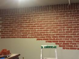 How To Faux Paint Walls Faux Brick Wall In Progress Painted Wall Grey Then Used Dollar