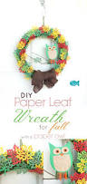 paper leaf wreath with paper owl fall paper craft tutorial