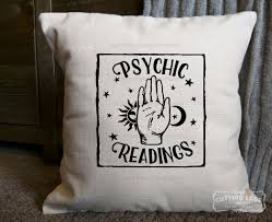 psychic readings hand cotton canvas natural pillow rustic home