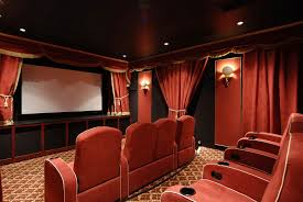 Red Accent Wall by Interior Classic Black Home Theater Alongside Red Accent Wall