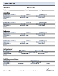 vacation itinerary template holiday itinerary template samples