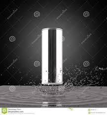 blank metal energy drink can mock up with water splash 3d render