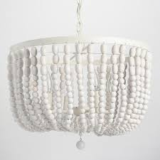 Cascading Chandelier by Whitewash Wood Bead Chandelier