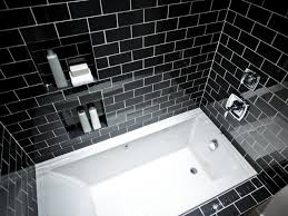 impressive small bathroom design for shower room with black mosaic