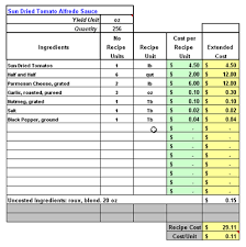 Excel Costing Template Restaurant Software Recipe Costing Inventory Menu