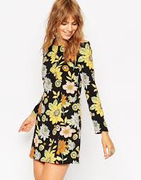 shopping animalarithmetic asos shift dress in 60s floral print