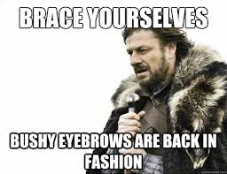 Bushy Eyebrows Meme - brace yourselves bushy eyebrows are back in fashion brace