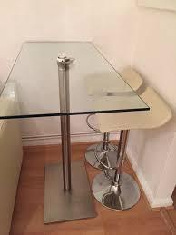 Glass Breakfast Bar Table Dwell Glass Breakfast Bar Table U0026 2 Cream Stools 100 00 In