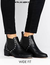 womens wide ankle boots canada black shoes look wide fit stud detail chelsea boot