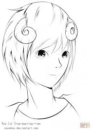 coloring ryo anime boy by zavekey coloring page free printable